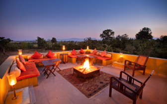 The rooftop lounge at Fortsyth's Satpura, luxury hotel in India