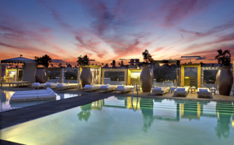 The poolside area at SLS Beverly Hills Hotel