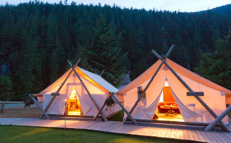 Tents at night at Clayoquot Wilderness Resort
