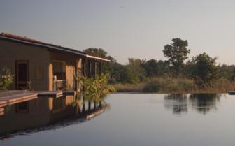 The lake  at Samode Safari Lodge, luxury hotel in India