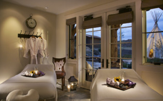 The treatment room at Brush Creek Ranch, luxury hotel in the Great American Wilderness