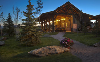 The exterior at brush Creek Ranch, luxury hotel in the Great American Wilderness