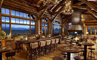 The bar and dining area at Brush Creek Ranch hotel