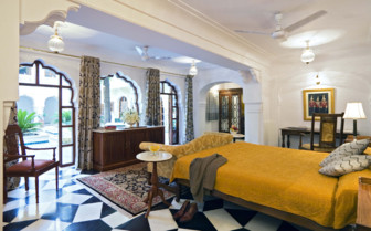 The deluxe suite at Samode Haveli, luxury hotel in India