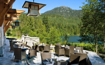 The terrace patio at Nita Lake Lodge