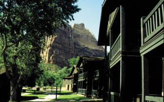 The exterior at Zion Lodge luxury hotel in the Great American Wilderness