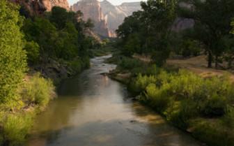 River floating through surrounding landscape