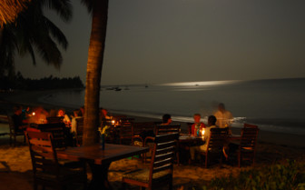 Beach dining after sunset