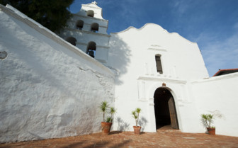 Entrance to a white-washed church