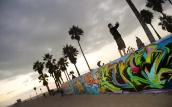 Graffiti along the beach wall in Santa Monica
