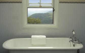 Bathtub with mountain views
