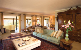 Lounge at Camp Figtree, luxury hotel in South Africa