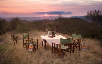 Outdoor dining at sunset