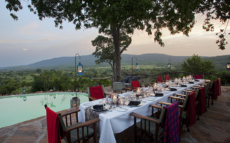 Dining at the pool with view of the hills