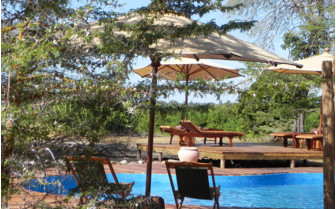 The pool area at Impala Camp, luxury hotel in Tanzania