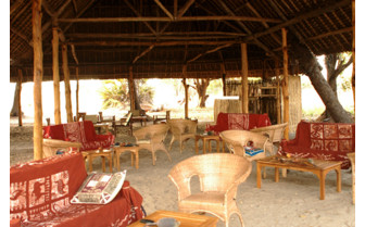 The sitting area at Lake Manze Tented Camp, luxury camp in Tanzania