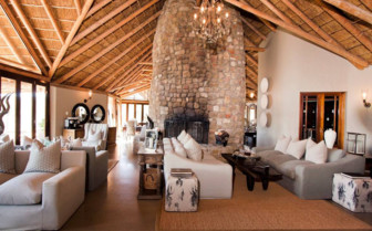 The main lounge at Kwandwe Private Game Reserve, luxury safari lodge in South Africa