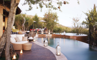 The poolside at Molori Safari Lodge, luxury safari camp in South Africa