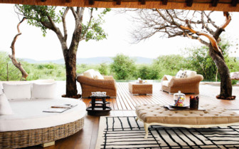 The terrace at Molori Safari Lodge, luxury safari camp in South Africa