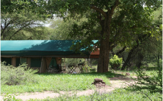 The exterior at Mdonya Old River Camp, luxury camp in Tanzania