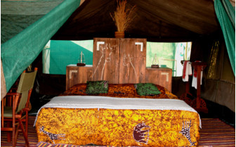 The interior of the tents at Mdonya Old River Camp