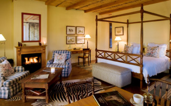 Large bedroom at Samara, luxury hotel in South Africa