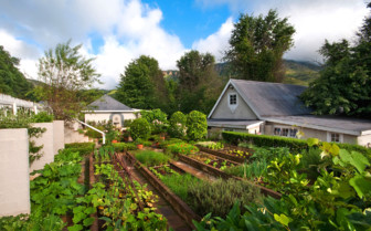 The garden at Cleopatra Farmhouse, luxury hotel in South Africa