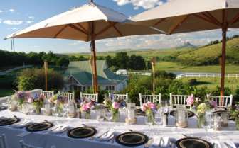 Dining on the terrace at Oaklands Country Manor