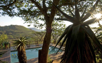 The pool at sunrise Three Trees at Spioenkop, luxury hotel in South Africa
