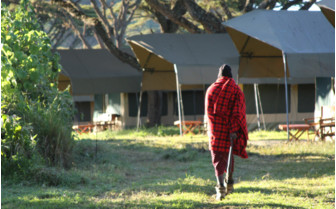 The exterior of the tents at Lemala Ngorongoro