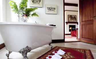 Luxury bathroom with large bathtub