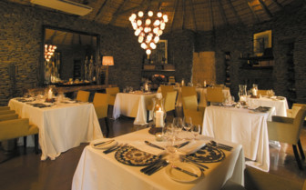 The dining room at Singita Boulders, luxury safari camp in South Africa