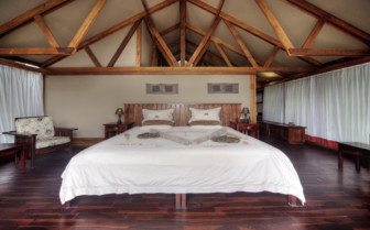 The bedroom interior at Lebala Camp, luxury camp in Botswana