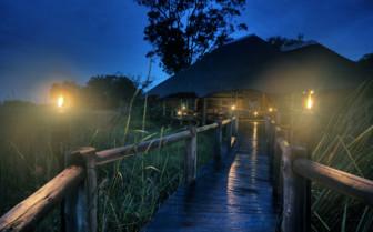 The camp bridge at night