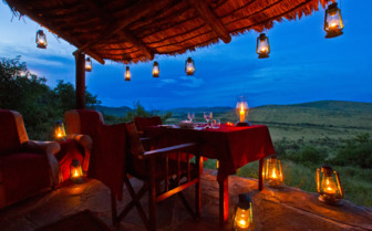 Terrace dining with stunning views of the surrounding nature