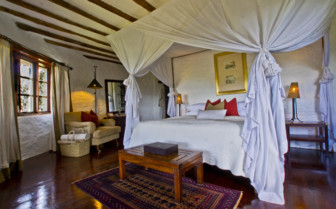 Double bedroom at Klein's Camp, luxury camp in Tanzania