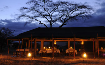 The dining tent at night