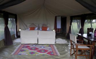 Tent interior at Olakira Camp