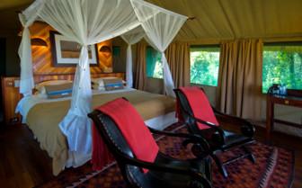 Bedroom guest tent at Selinda Camp, luxury camp in Botswana