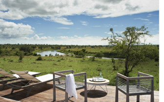Terrace with view at Singita Mara River Tented Camp