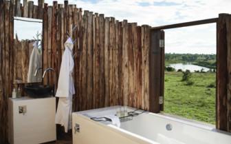Outdoor bathroom at Singita Mara River Tented Camp