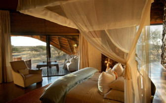 The bedroom interior at Tswalu, luxury safari camp in South Africa