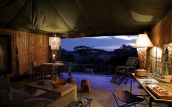 Villa suite lounge at Singita Faru Faru Lodge, luxury lodge in Tanzania