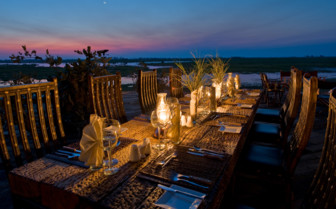 Outdoor dining on the main deck