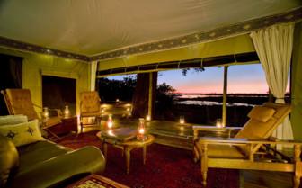 Lounge Tent with sunset view at Zafara Camp