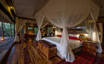 Luxury bedroom tent at Zafara Camp, luxury camp in Botswana