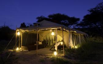 Tent by night at Dunia Camp