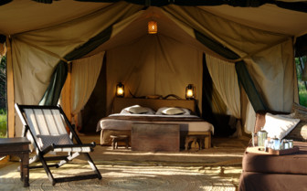 Interior design of a tent at Dunia Camp, luxury camp in Tanzania