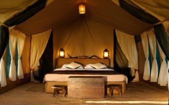 The interior design of a tent