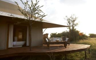 The terrace at Sayari Camp, luxury camp in Tanzania